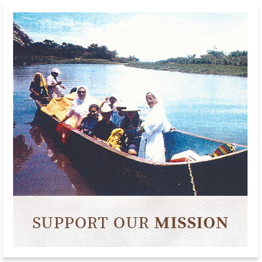 a picture of Sisters in a boat linking to the Support our Mission page