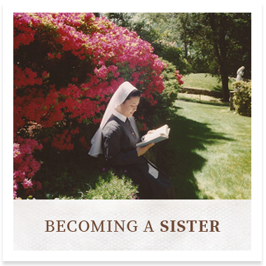 Graphic link of a sister reading in the garden that links to the Becoming a Sister page